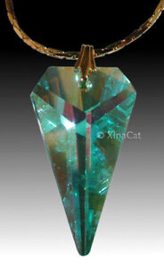 SWAROVSKI-Austrian-Crystal-Green-AB-SPEAR-8762-25mm-Arrow-Pendant-1-inch