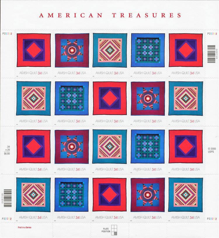 2001 34c Amish Quilts, Sheet of 20 Scott 3524-27 Mint F