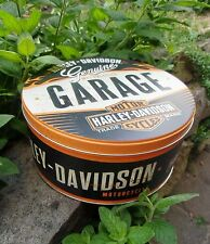 Official HARLEY-DAVIDSON Motorcycles GARAGE round Tin Storage/Lunch Cookies Box