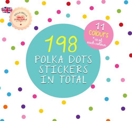 198x Polka Dot Stickers Wall Girls Boys Bedroom Home Decor Nursery 11 colours