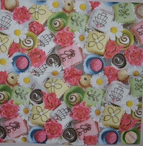 PAPER TABLE NAPKINS FOR CRAFT VINTAGE FLOWERS CUPCAKE DECOUPAGE TEA PARTIES 352