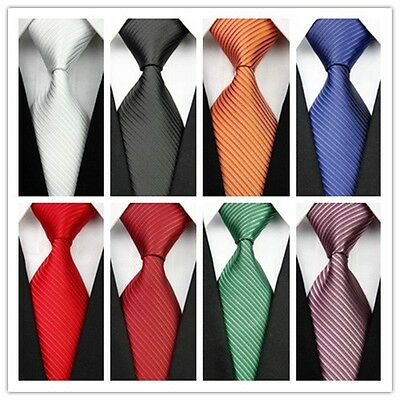 COM07 White Green Brown Black Red Blue Striped Classic Silk Men's Tie Necktie