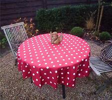 Tischdecke Provence 160 cm rund rot Punkte weiß aus Frankreich, pflegeleicht