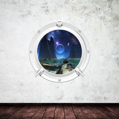 Full Couleur Espace Hublot Planète Wall Art Autocollant Décalcomanie Murale Transfert WSD629