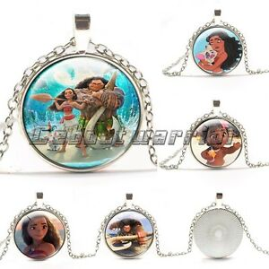 Women moana glass necklaces silver plated pendants kid necklace image is loading women moana glass necklaces silver plated pendants kid mozeypictures Gallery