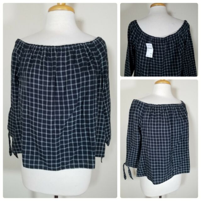 6cacd763d9c NWT Madewell Women s Blouse Black Plaid Off The Shoulder Top 3 4 Sleeve  Size L