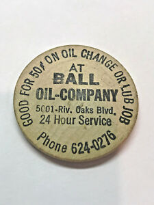 Details About Wooden Nickel Advertisement Ball Oil Company 439
