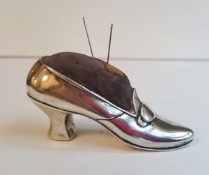 Antique Gorham Sterling Figural Lady's High Heel Shoe Seamstress Pin Cushion