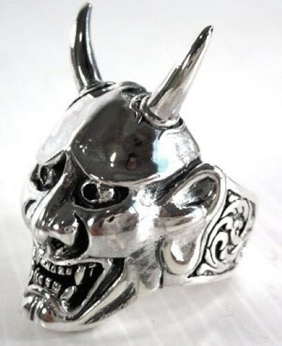 Máscara japonesa Vampiro 925 Sterling Silver Anillo Cráneo Gótico Biker Diablo Demonio
