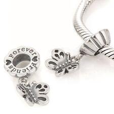 Best Friend Butterfly-Forever-sólido de plata esterlina 925 encanto grano/Colgante-Par