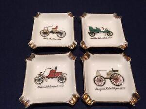 Details about Royal Crown Porcelain Vintage Cars Four Ashtrays Ford  Cadillac Oldsmobile,Japan