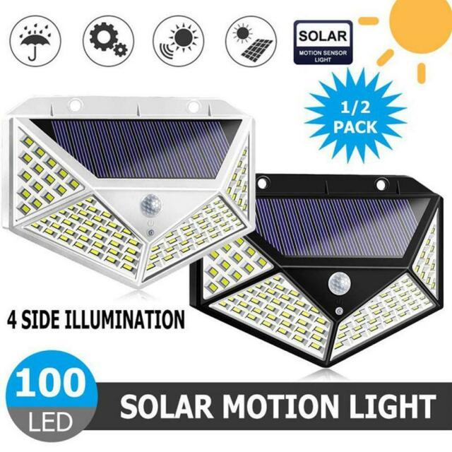 100LED Solar Power Light PIR Motion Sensor Garden Security Wall Lamp Home BEST