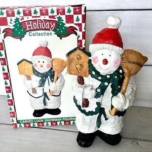Carve Look Snowman Figurine Country Rustic Resin World Bazaars Original Box 10 Ebay