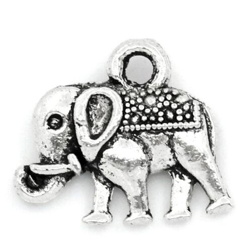 KUS:50 Antik Silber Elephant Charm Anhänger 14x12mm