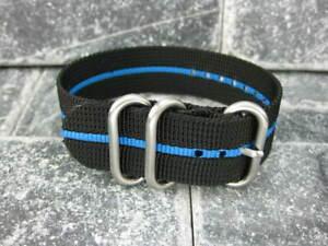 Ballistic Nylon Diver Strap 3 Rings Black Watch Band Brush for Zulu Blue Stripe