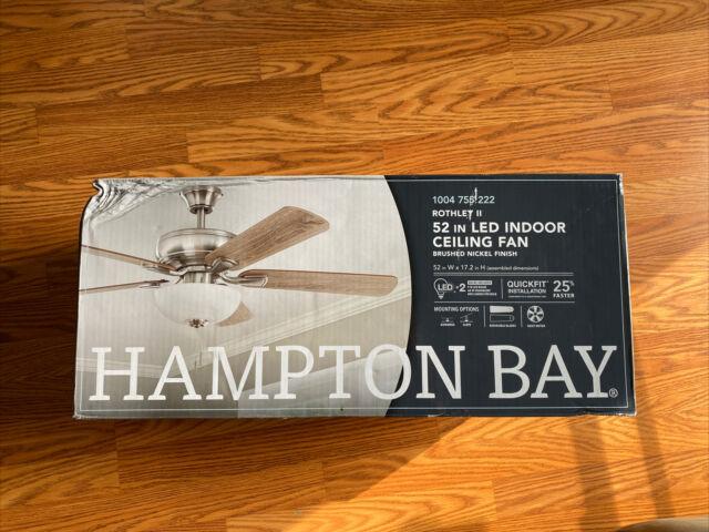 Hampton Bay Rothley Ii 52 In Brushed Nickel Led Ceiling Fan Blade Mounts X5 For Sale Online Ebay