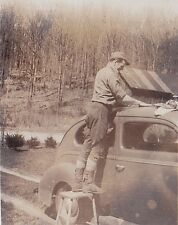 Old Vintage Antique Photograph Man Cleaning Roof of Antique Car Automobile