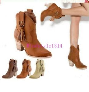 Ladies-Cowboy-Shoes-Block-Heel-Tassels-Pu-Leather-Retro-Ankle-Boots-Size-Chic