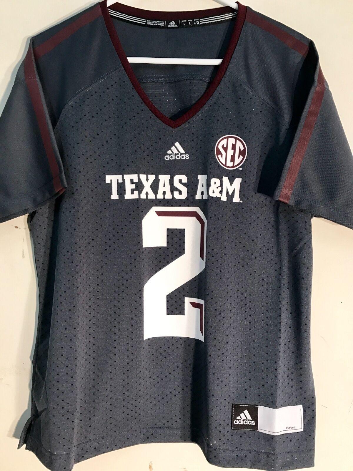 finest selection fd4e8 03a33 adidas Women's NCAA Jersey Texas A&m Aggies #2 Johnny Manziel Grey Sz M