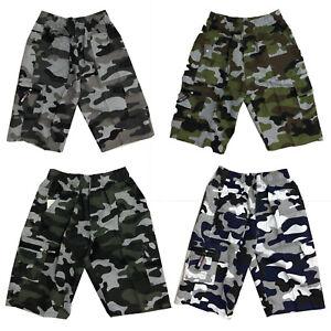 Pantaloncini-Ragazzi-Bambini-Esercito-Mimetico-Mimetica-Combat-Cargo-Estate-Moda