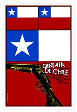 """Cuban decor Graphic Design movie Poster for film""""Cantata CHILE""""Chilean flag"""