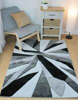 Hand Carved Fragmented Black & Grey Modern Wilton Rugs 160x230cm