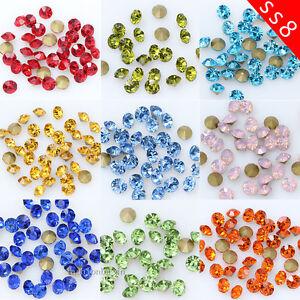 144 1440p ss8 Point Back Crystal Glass diamante Rhinestone jewels ... ba57e6c2a92a