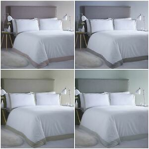 Hotel Style Madison Striped Border Duvet Quilt Cover Bedding Sets - 4 x Colours
