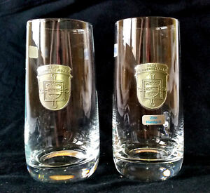 2-Glas-Zinn-Wappen-Bierglas-Langenselbold-Main-Kinzig-Hessen-Zwiesel-Schott-Beer