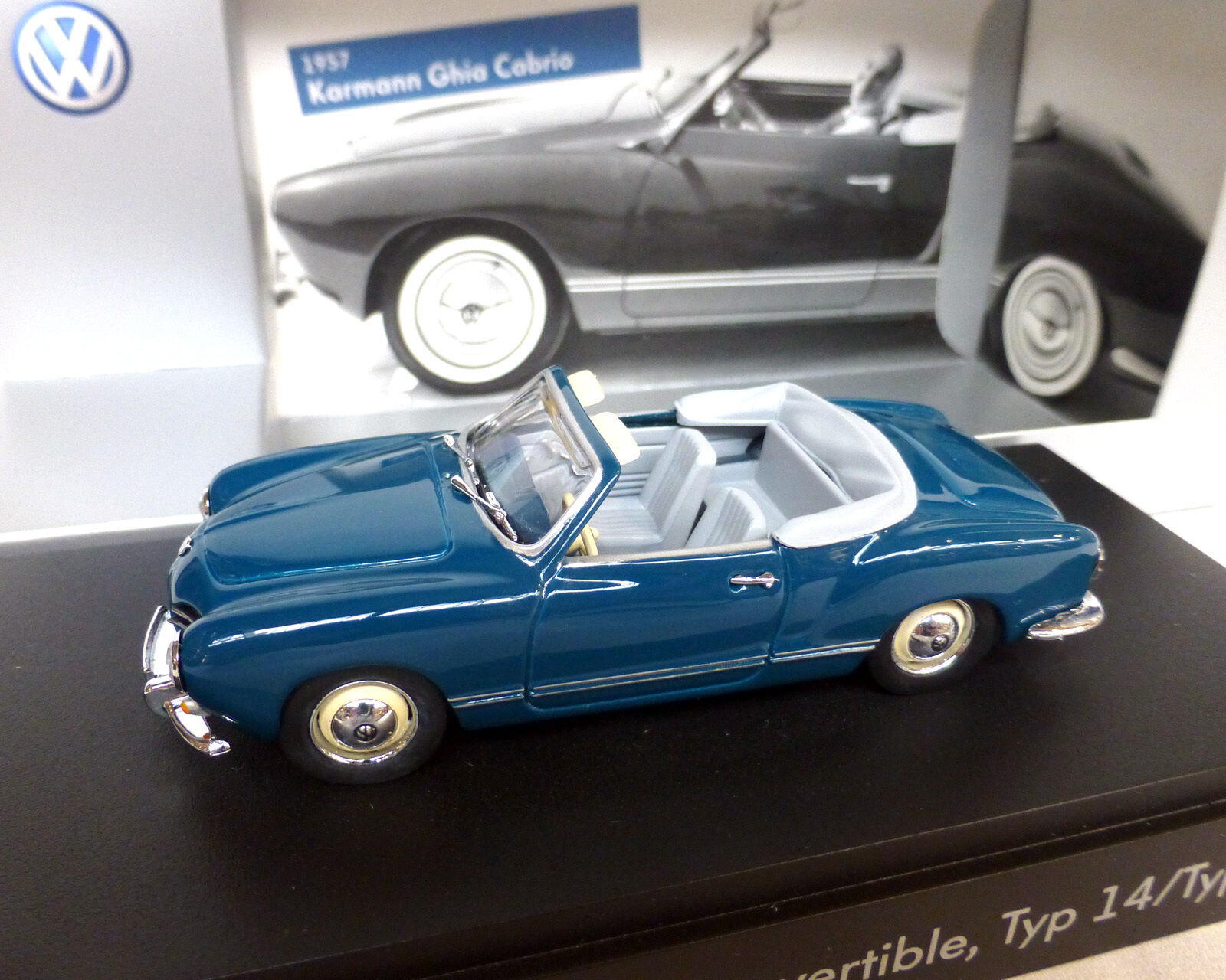 VW Karmann Ghia Cabriolet, Type 14, bluee-Green, 1 43