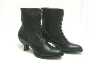 Oak Tree Farms Eleanor Old West Granny Vintage Style Black LEATHER Boot sz  6