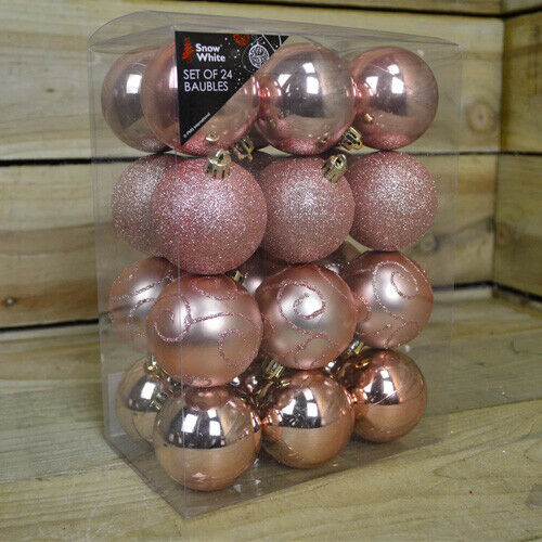 NEW SET OF 24 HANGING GLASS BAUBLES CHRISTMAS TREE BALLS HOLDER DECORATION XMAS