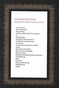 """CHARLES BUKOWSKI """"SONG FOR THIS SOFTLY-SWEEPING SORROW"""" BROADSIDE 50 COPIES"""