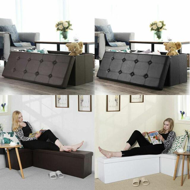 Amazing Home Faux Leather Storage Footstool Sofa Ottoman Bench Folding Footrest Box Seat Machost Co Dining Chair Design Ideas Machostcouk