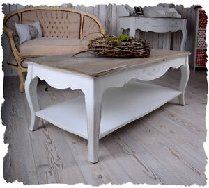 table basse style shabby chic en bois hetre blanc patine. Black Bedroom Furniture Sets. Home Design Ideas