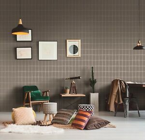 York Wall Off the Grid Geometric Matte Gray Silver Metallic Modern Wallpaper