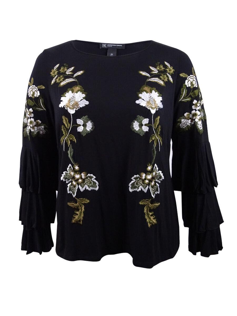 INC International Concepts Woherren Plus Embroiderot Tierot-Sleeve Top