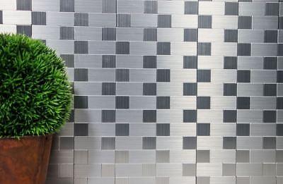 Mosaik Fliese selbstklebend Aluminium silber metall Wand WC 200-4MM991 Matte