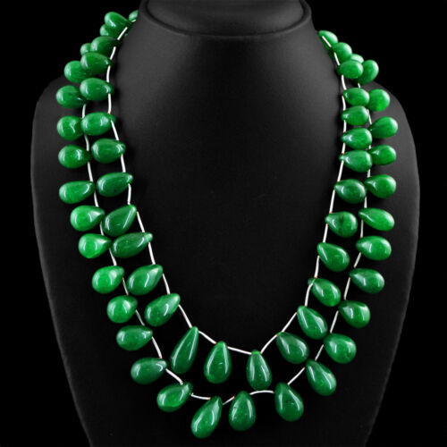 721.00 cts Earth mined riche vert émeraude 2 Strand Poire Perles Collier