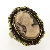 Purple Oval Antique Vintage Style Lady Cameo Rhinestone Crystal Ring Size Free