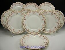 "THEODORE HAVILAND 319 PINK DROP ROSE WREATH SWAG DINNER PLATES 9.75"" SET OF 12"