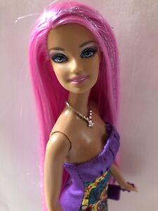 💕Mattel Barbie Hairtastic 2011 Rare Long Gorgeous Pink Metallic Hair💕