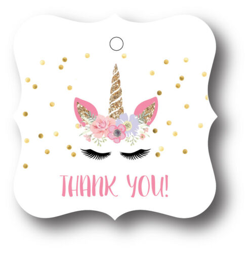 24 Unicorn Face Thank You Birthday Party Favors Treat Bag Tags