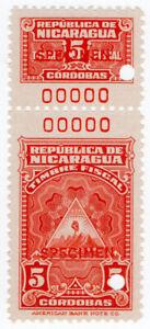 I-B-Nicaragua-Revenue-Duty-Stamp-5CD-ABN-Specimen