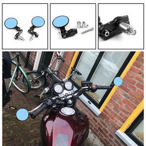2x-Universal-7-8-034-Motorrad-Lenkerendenspiegel-Rueckspiegel-Aluminium-Schwarz-A3