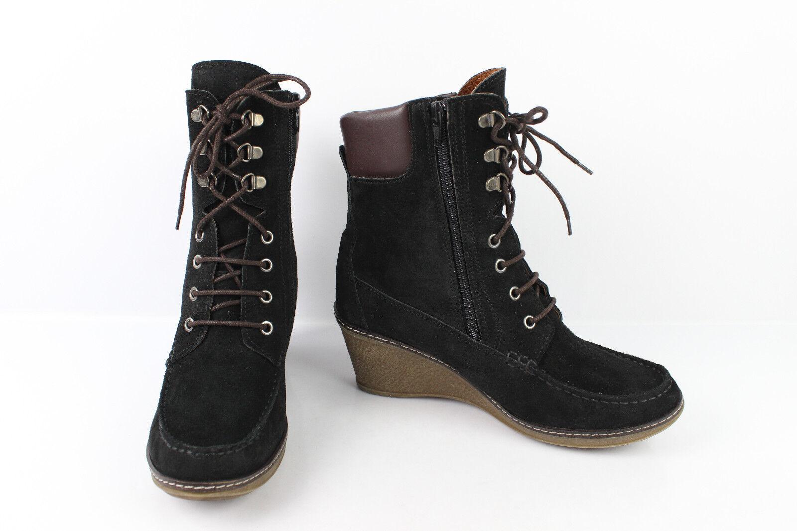Stivali con lacci ALBA MODA Camoscio black Tacco A Zeppa T 40 OTTIME CONDIZIONI