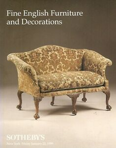 Sotheby S 7257 Fine English Furniture Decorations Auction Catalog 1999 Ebay