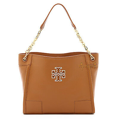 TORY BURCH BRITTEN LEATHER SLOUCHY SMALL TOTE BAG BARK $475