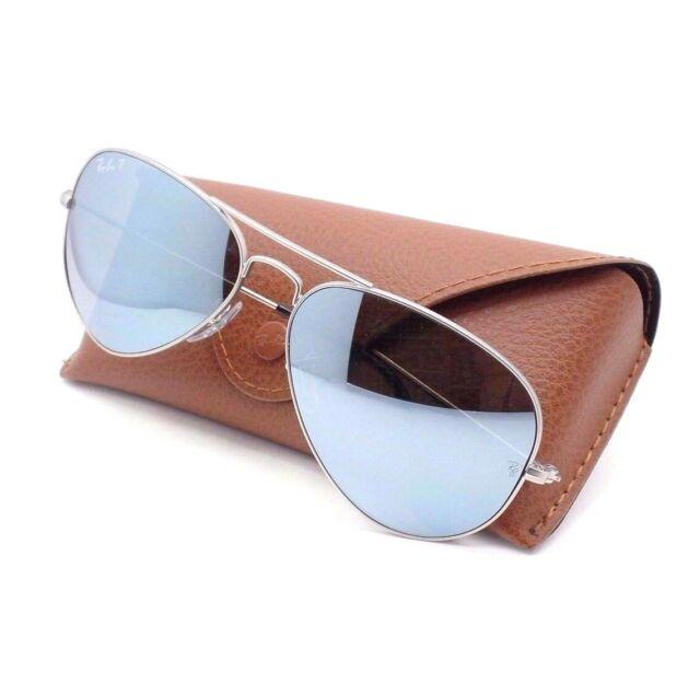 Ray Ban Aviator 3025 019W3 Matte Silver Polarized Mirror Sunglasses AUTHENTIC