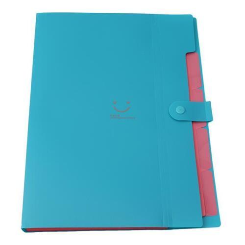 5 Pockets A4 Paper Plastic File Folder Information Document Bag Office Use G